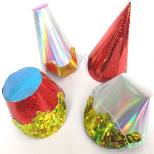 Party Hats Shaped Foil Small 75's New Years Christmas Birthday Table